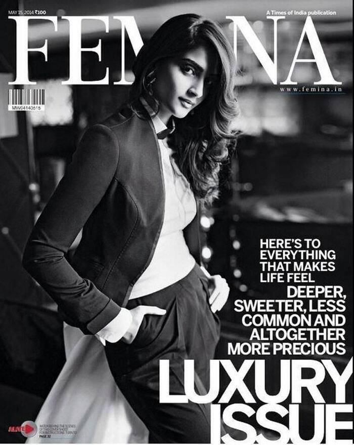 Fashionista Sonam Kapoor looks every bit the fashion diva she is on the latest issue of a fashion magazine. The actress is seen sporting a dark tailored suit by Ashish N Soni and earrings by Valliyan by Nitya Arora.