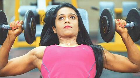 Weight and Watch: Deepika Chowdhury works out at the gym.