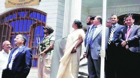 Sujatha Singh during her visit to the Indian consulate in Herat on Friday. (Source: PTI)