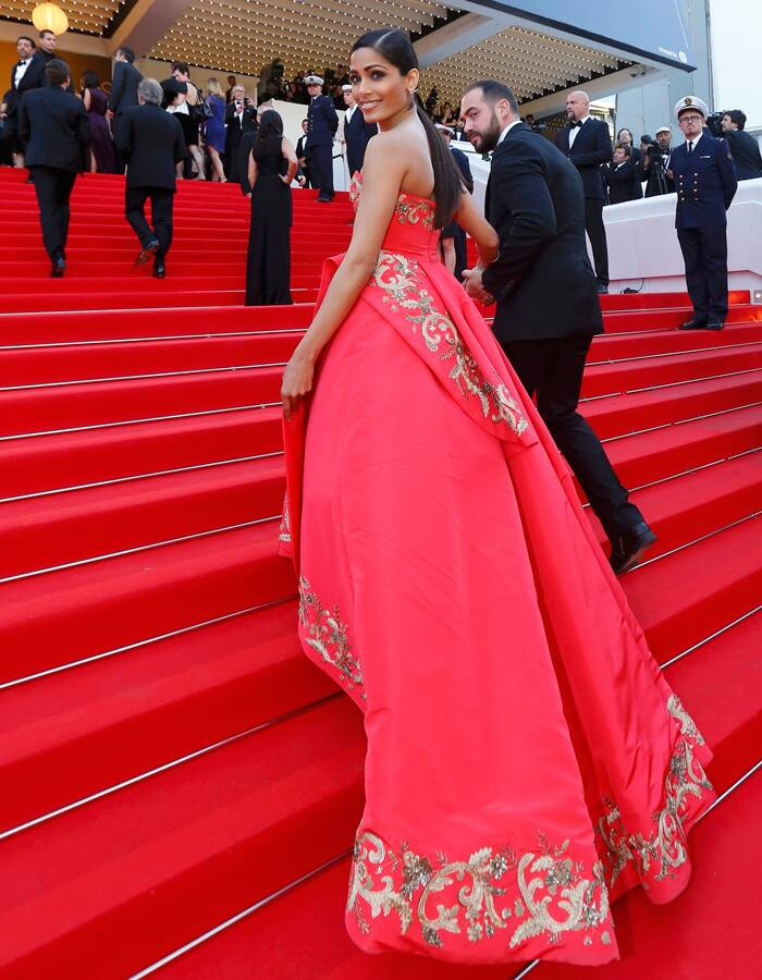 "Freida Pinto poses on the red carpet as she arrives for the screening of the film ""The Homesman"" in competition at the 67th Cannes Film Festival in Cannes May 18, 2014.   (Reuters)"