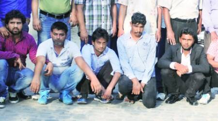 Gang members in police custody on Wednesday.(Purushottam sharma)