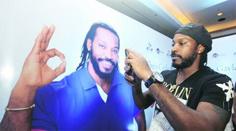 Gayle launches his brand of shoes in Mumbai.  ( Source: Express photo by Silip Kagda )