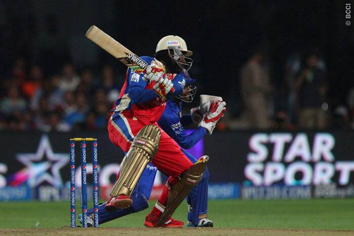 Chris Gayle was looking out of touch in the middle as he could only manage 19 off 25 before edging a wide delivery to Rajasthan wcket-keeper Sanju Samson. (Photo: BCCI/IPL)