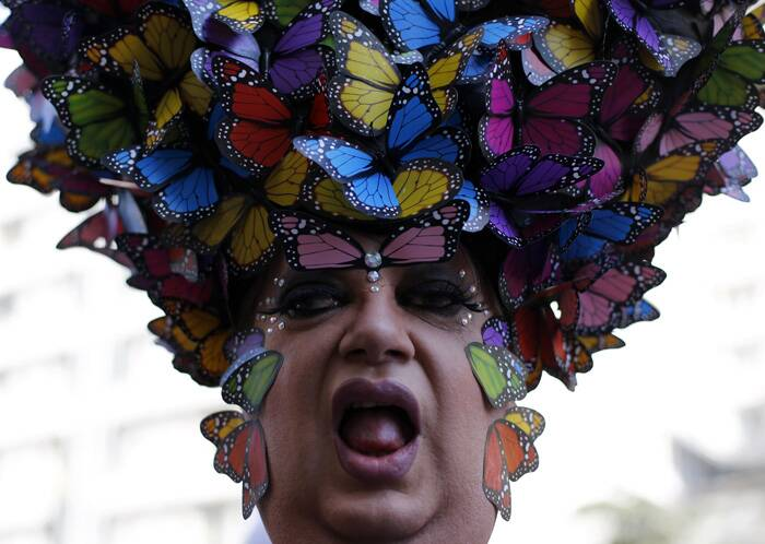 A reveller poses during the Gay Pride Parade in Avenida Paulista in Sao Paulo. (Reuters)