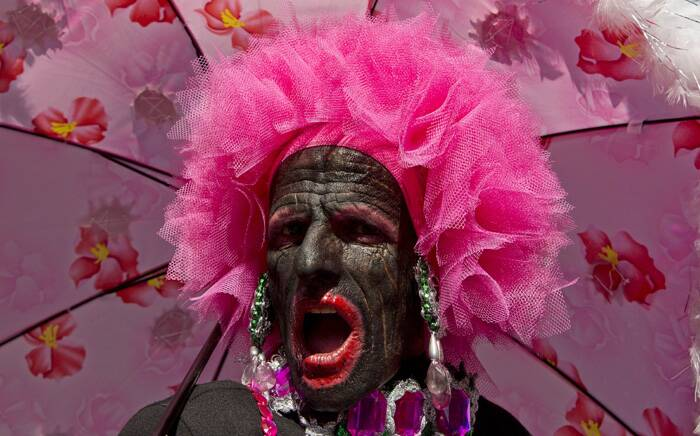 A reveler sings during the annual Gay Pride Parade in Sao Paulo, Brazil. (AP)