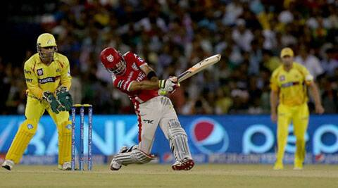 Glen Maxwell smashed the CSK bowlers all over the park in his 38-ball stay at the crease. He top-scored for KXIP with 90 runs. (IPL/BCCI)