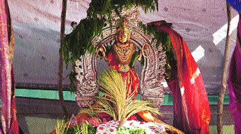 A dressed Kannaki in a temple in Koraveli.