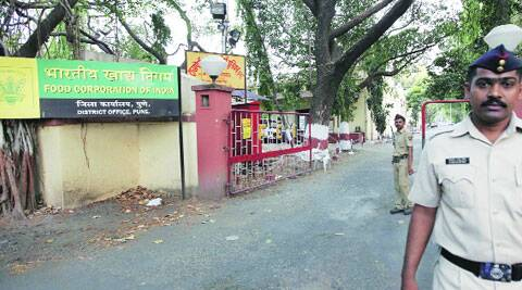 The Food Corporation of India godown at Koregaon Park is one of the counting centres in the city. (Express archive)