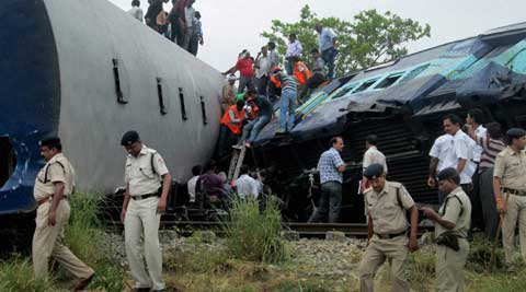 At least 22 people were killed when Gorakhdham Express rammed into a stationary freight train in Sant Kabir Nagar district in Uttar Pradesh. (Source: PTI)