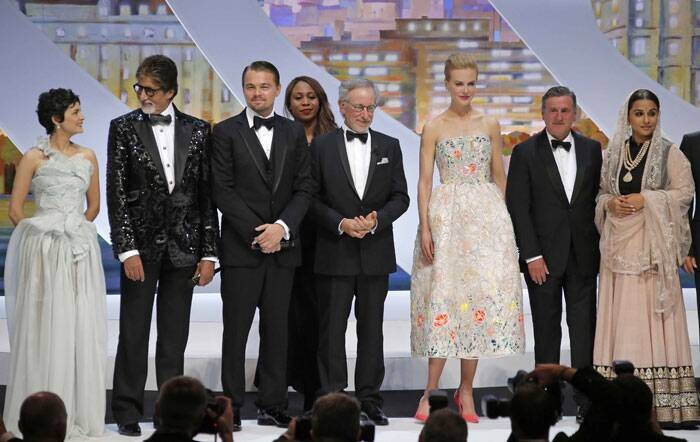 From left, actress and host Audrey Tautou, Amitabh Bachchan, Leonardo DiCaprio, director and jury president Steven Spielberg, actors Nicole Kidman, Daniel Auteuil and Vidya Balan acknowledge applause during the opening ceremony at the 66th international film festival. (AP)