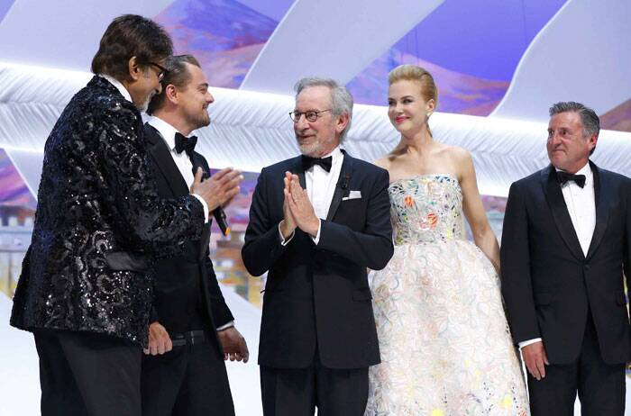 Steven Spielberg, who had earlier met Big B during his India visit, greets the Indian megastar with a namaste. (L-R) Actors Leonardo DiCaprio and Amitabh Bachchan, cast members of the film 'The Great Gatsby', Jury President Steven Spielberg, Jury member of the 66th Cannes Film Festival actress Nicole Kidman and Daniel Auteuil attend the opening ceremony of the 66th Cannes Film Festival in Cannes May 15, 2013. (Reuters)