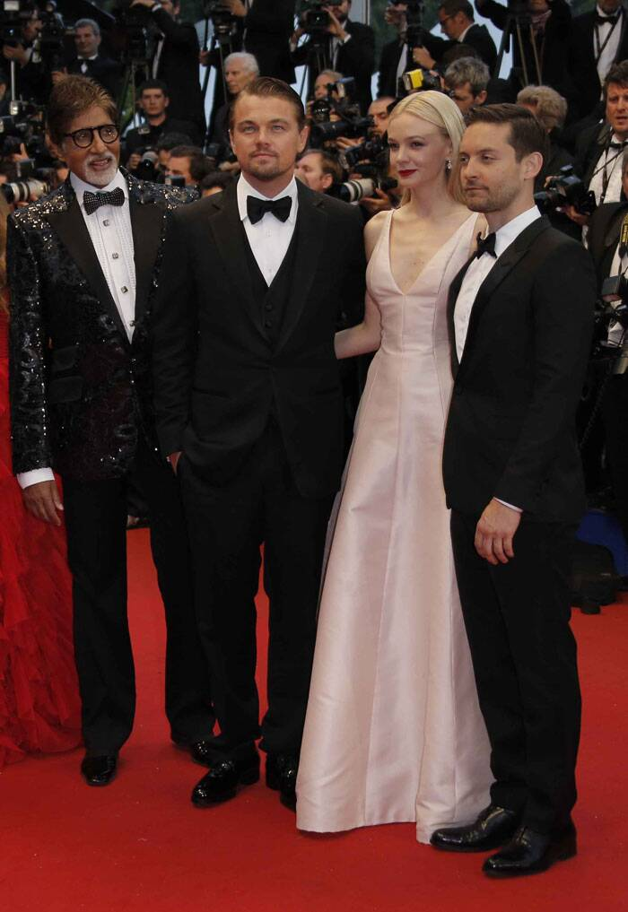 From left, Amitabh Bachchan, Leonardo DiCaprio, Carey Mulligan and Tobey Maguire pose as they arrive for the opening ceremony and the screening of The Great Gatsby at the 66th international film festival, in Cannes, southern France, Wednesday, May 15, 2013. (AP)