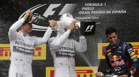 Daniel Ricciardo (R) was third for champions Red Bull in the first podium finish of his F1 career (Reuters)