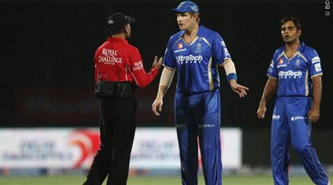 Hazare shot down a run-out appeal made by RR players against DD skipper Pietersen without referring to third umpire, even though TV replays appeared to show that the Pietersen was out of his crease. (BCCI/IPL)