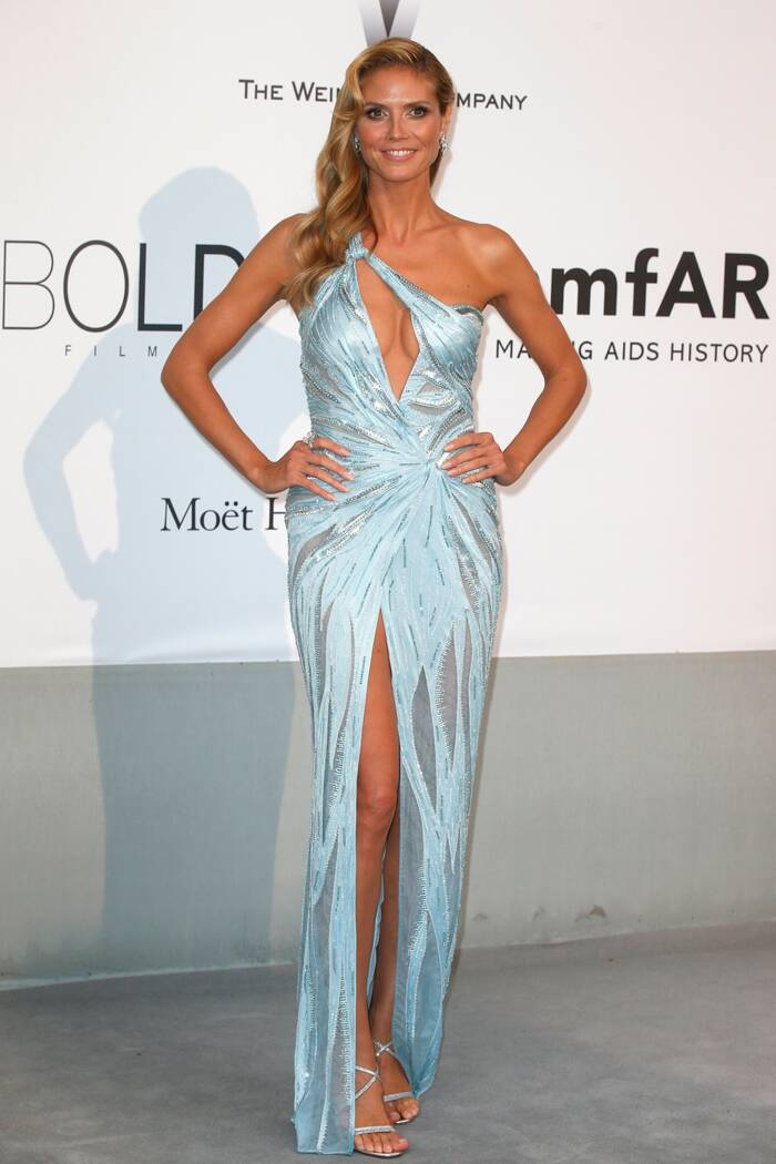 Heidi Klum was an absolute stunner in an icy blue cutout Versace gown with a slit and Bulgari jewels. (Source: Reuters)