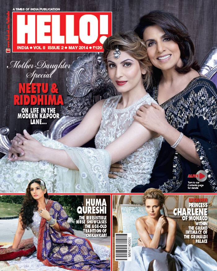 Mother-daughter-duo Neetu Kapoor and Riddhima look stunning in Indian wear as they grace the cover of a magazine. Riddhima, who usually stays away from the limelight, looks beautiful in a cream embellished beige Anarkali, while mom Neetu Kapoor is  dressed in midnight blue sari with a rich border.