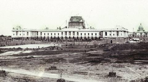 The Rashtrapati Bhavan — formerly the Viceroy's House and now the official residence of the President of India — at various stages of construction