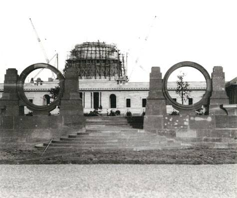 The Rashtrapati Bhavan at various stages of construction