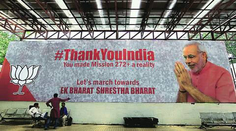 Blitz continues after the verdict: a 'thank you' hoarding at BJP headquarters. ( Source: Express photo by Ravi Kanojia )