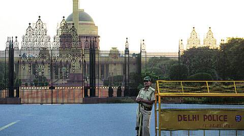 A policeman outside Rashtrapati Bhawan Monday.  ( Source: Express photo by Oinam Anand )