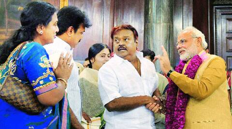 Vijayakanth and his wife with Modi in Parliament. ( Source: PTI )