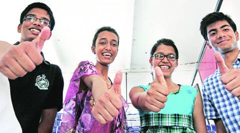 (From left) Ronnie Mondal, Navya Singhal, Kishika and Shubham Mawa of Little Flower Convent School in  Panchkula on Wednesday.  ( Source: Express photo by Jaipal Singh )
