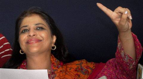 Shazia Ilmi, one of the founder members of the Aam Aadmi Party, at a press conference in New Delhi on Saturday. Ilmi resigned from all party posts. (Source: PTI)