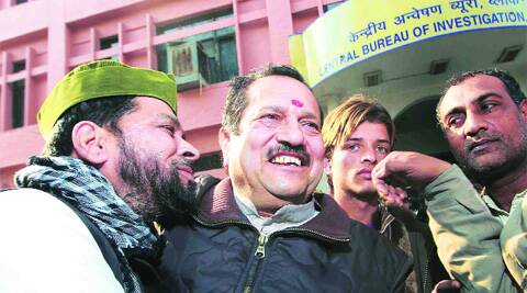 Indresh Kumar appears at the CBI headquarters in Delhi in connection with his alleged role in the Mecca Masjid blast in this file photo from 2010.