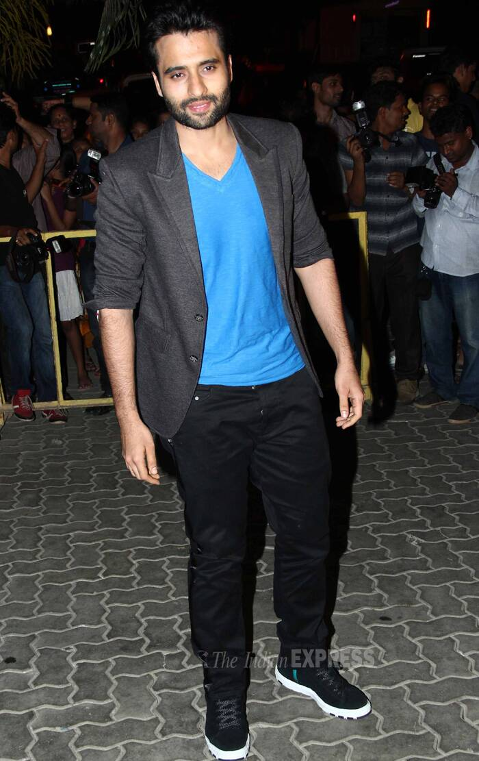 'Youngistaan' actor Jackky Bhagnani was stylish in black pants and blue tshirt he teamed with a black blazer. (Source: Varinder Chawla)