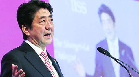 Japan PM Shinzo Abe delivers the keynote at the Shangri-La Dialogue in Singapore on Friday