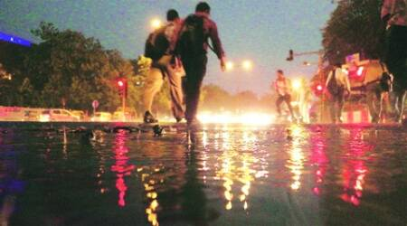 Rain on Thursday evening brought relief to the capital reeling under high temperature. (Praveen Khanna)