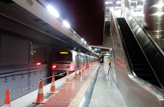 The new Janpath Metro station, part of the Central Secretariat-Mandi House stretch, is a riot of colours with beautiful artworks on its walls and the artificial ceiling, and large sections of the station bathed in bright maroon. (IE Photo: Praveen Khanna)