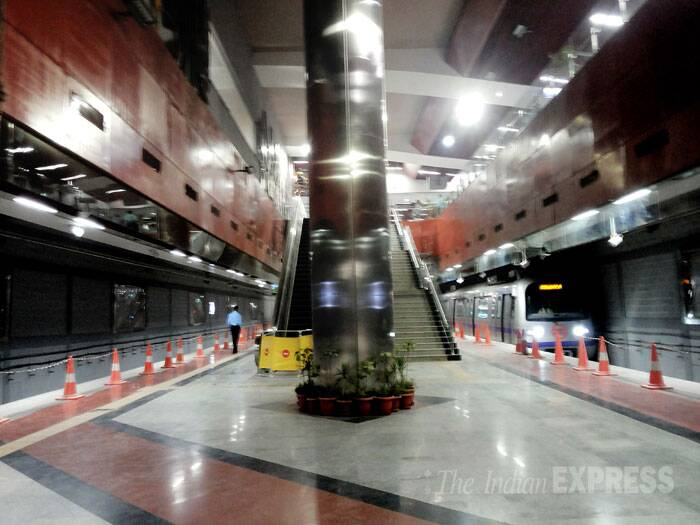 "Both the stations are almost complete, workers at the stations say. ""In fact, work at the Janpath Metro station for the past many months has only centred on beautification and refinement of what we had first built. They have put in a lot of effort on this station,"" a supervisor said. (IE Photo: Praveen Khanna)"