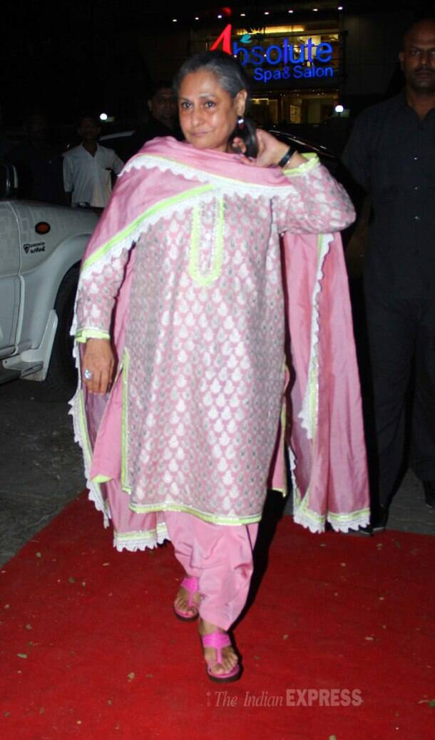 Abhishek's mom Jaya Bachchan was elegant in a pink salwar suit (which looks to be an Abu Jani Sandeep Khosla) and had her hair tied up. We like! (Photo: Varinder Chawla)