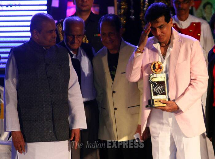 Veteran actor Jeetendra received the Dada Saheb Phalke Ratna Award, which was presented by Maharashtra Governor K.Sankaranarayana. (IE Photo: Amit Chakravarty)