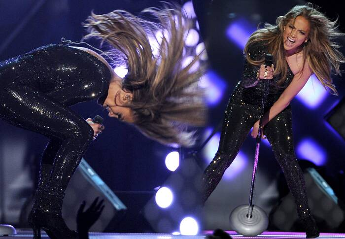"Jennifer Lopez performed ""First Love"" in a sequin bodysuit. (Source: Source: AP)"