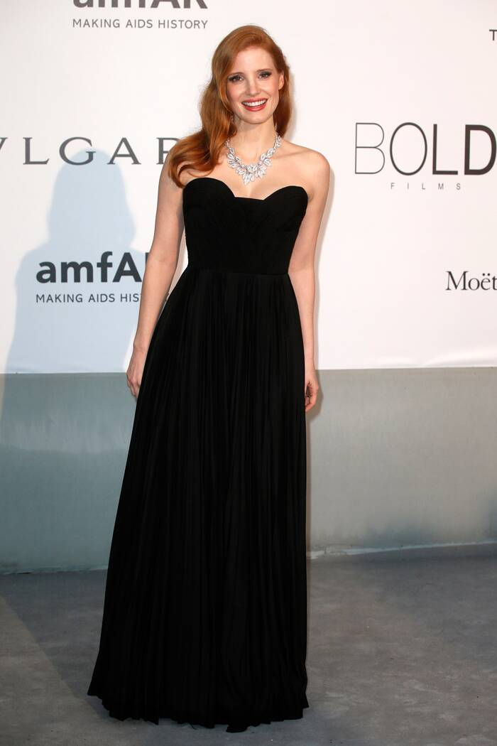 'Zero Dark Thirty' actress Jessica Chastain was simple yet stunning in a Givenchy gown with a necklace by Tesiro. (Source: Reuters)