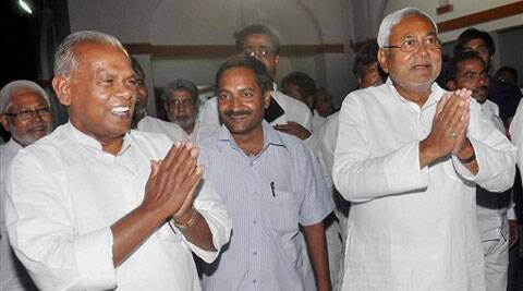 Former Bihar CM Nitish Kumar with Chief Minister-designate Jitanram Manjhi at the CM residence in Patna on Monday. (PTI)