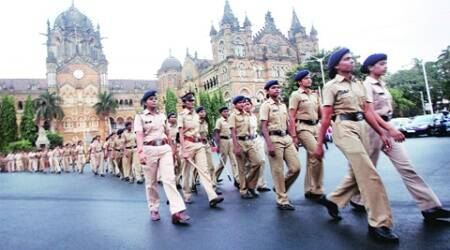 Women police personnel stage a march as part of bandobast duty, at CST on Thursday. Prashant Nadkar