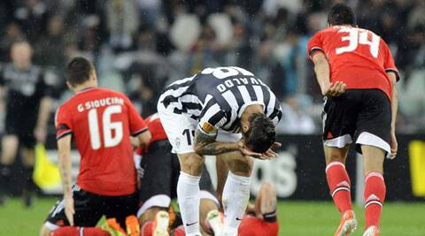 Juventus' Pablo Osvaldo (C) reacts at the end of their Europa League semi-final second leg soccer match against Benfica at the Juventus stadium in Turin (Reuters)