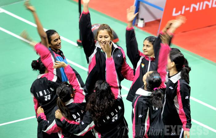 Jwala Gutta, P.V.Sindhu and other Indian players cheer before start of the women matches, on Day 1 of Thomas and Uber cup finals 2014. (Source: Express photo by Ravi Kanojia)