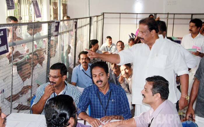 Congress candidate K Sudhakaran at counting stations in Kannur.   (Source: IE Photo by S K Mohan)