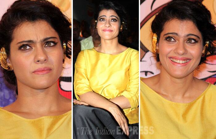Don't miss Kajol's many expressions at the launch…Also, her uniquely styled ear cuffs definitely caught our eye! (Photo: Varinder Chawla)