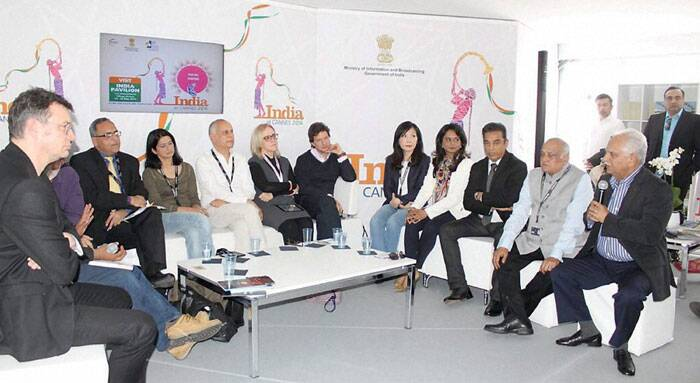 I & B Secretary Bimal Julka, film director Ramesh Sippy and actor-director Kamal Haasan along with other delegates at a panel discussion at Cannes Film Festival in France. (Source: PTI)
