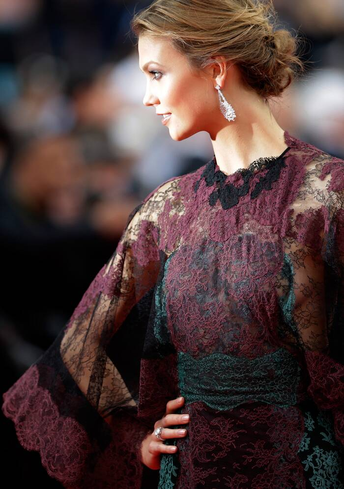 Model Karlie Kloss was stunning in a two-toned lace gown with Chopard jewels. <br /><br /> Karlie poses in style for the cameras at the opening ceremony of the 67th Cannes Film Festival and the screening of the 'Grace of Monaco'. ( Source: AP)