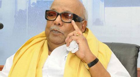 M Karunanidhi DMK chief, slams the centre for a fare hike in the railways. (Express Archive)