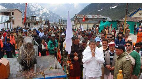 Uttarakhand Chief Minister Harish Rawat visiting Kedarnath Temple in Uttarakhand on Friday. (Source: PTI)