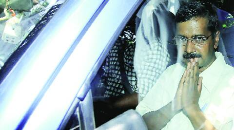Kejriwal outside Patiala House courts on the day he was arrested for refusing to furnish a bail bond. (Source: Express archive)