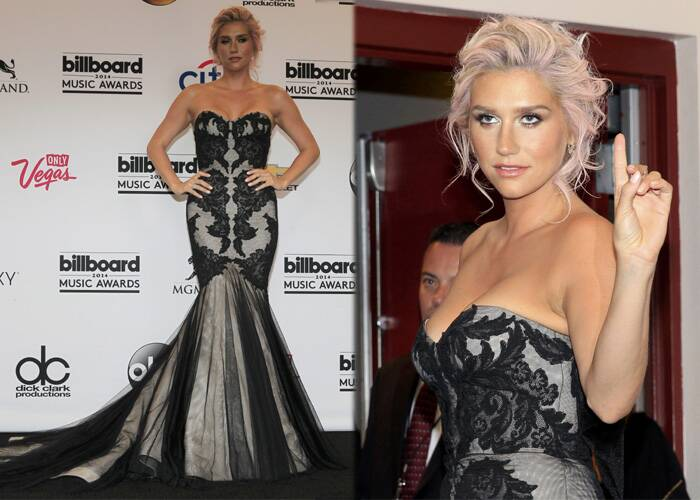 Kesha was stunning in a strapless white gown featuring black silk chiffon overlay and additional lace detail on the bodice. (SOurce: reuters)