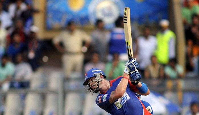 Delhi Daredevils began their chase in style, as Kevin Pietersen launched an all out attack on the Mumbai Indians bowlers. (Source: Express Photo by Kevin D'Souza)